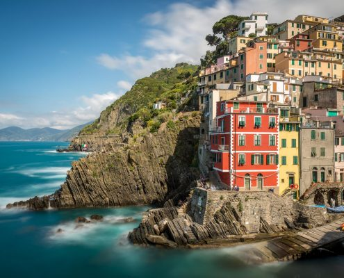Italy, National park of the Cinque Terre, Unesco Worldheritage site. view of Riomaggiore.