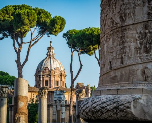 art cities Italy, Rome. View from the Trajan's column to the Church