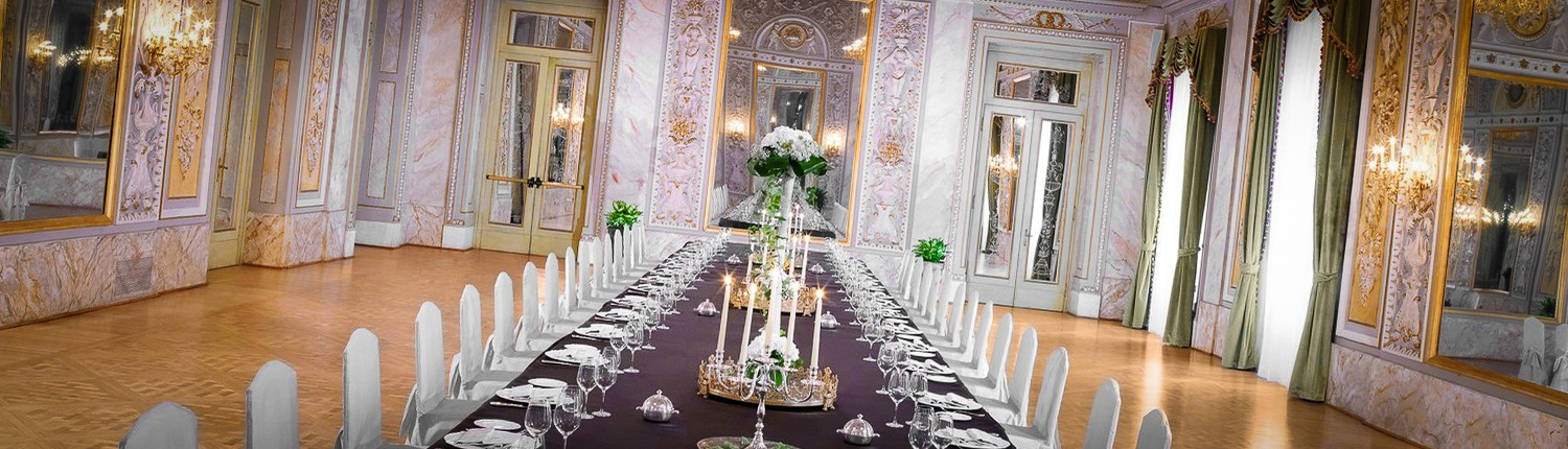 special dinner in ancient palace italy