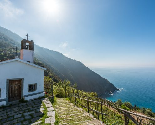 Italy, the Chapel of the guardian Angels overlooking the Cinque Terre Coast