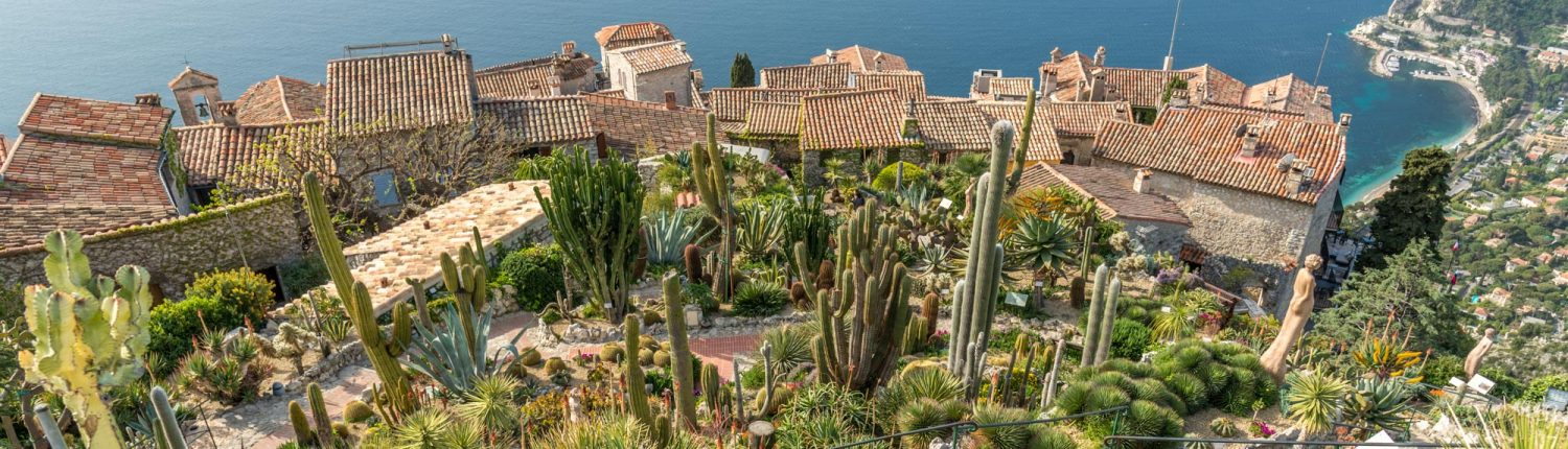 Eze village in Sud France, view from the botanical garden